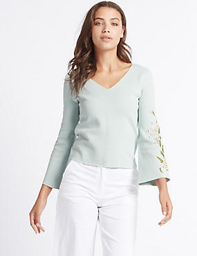 Pure Cotton Embroidered Flare Sleeve Jumper