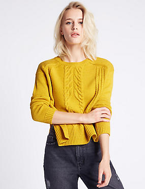 Cable Knit Side Split Round Neck Jumper