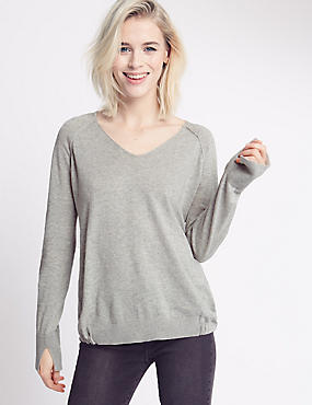 Pure Cotton Tie Hem V-Neck Jumper