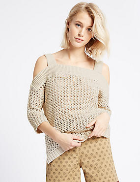 Ribbed Cold Shoulder Square Neck Jumper