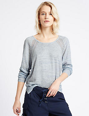 Pointelle Knit Tie Back Round Neck Jumper