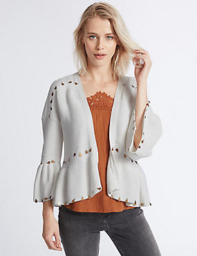 Pure Cotton Textured Boho Flared Cardigan