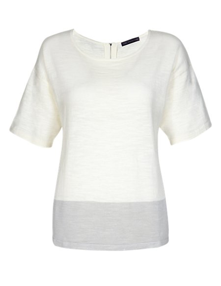 Cotton Rich Boxy Knitted T-Shirt