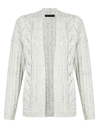 Pure Cotton Open Front Cable Knit Cardigan Clothing