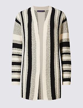 Cotton Rich Striped Open Front Cardigan