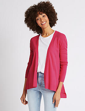 Long Sleeve Cardigan , BRIGHT PINK, catlanding