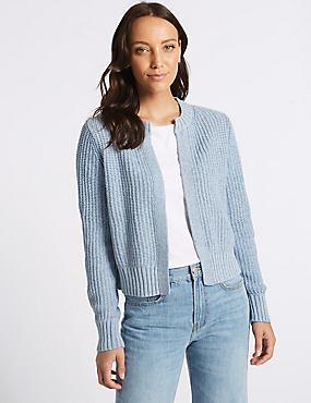 Cotton Blend Textured Cardigan , BRIGHT BLUE, catlanding