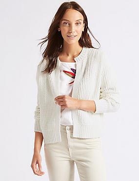 Cotton Blend Textured Cardigan , SOFT WHITE, catlanding