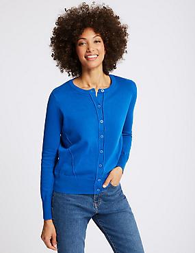 Pure Cotton Round Neck Long Sleeve Cardigan , BRIGHT BLUE, catlanding