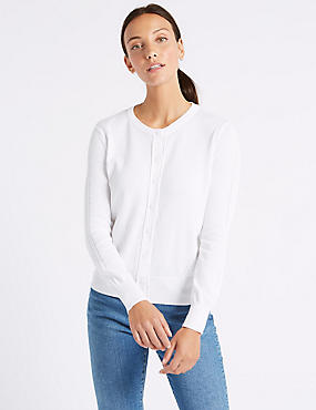 Pure Cotton Round Neck Long Sleeve Cardigan , SOFT WHITE, catlanding