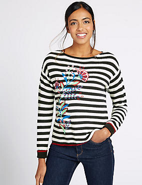 Pure Cotton Embroidered Striped Jumper