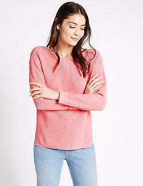 Pure Cotton Ribbed Turn Up Jumper