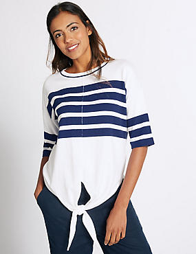 Pure Cotton Striped Tie Front Jumper