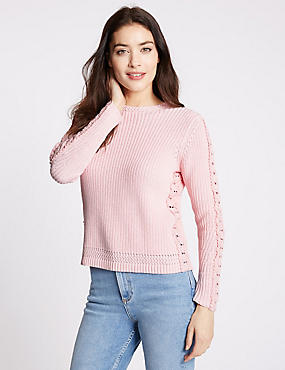 Pure Cotton Ribbed Tie Back Jumper