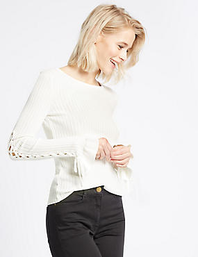 Lace-up Sleeve Ribbed Round Neck Jumper