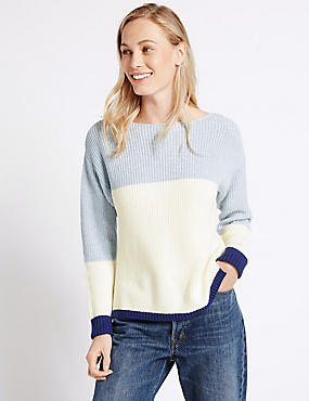 Pure Cotton Colour Block Slash Neck Jumper