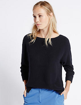 Pure Cotton Ribbed Slash Neck Jumper