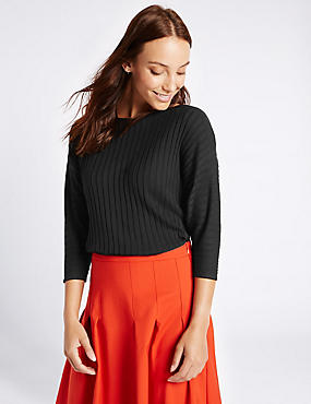 Ribbed Slash Neck 3/4 Sleeve Jumper