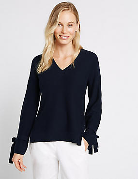 Cotton Blend V-Neck Tie Cuff Detail Jumper