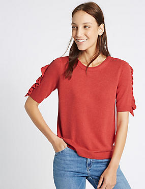 Ruffle Sleeve Round Neck Jumper