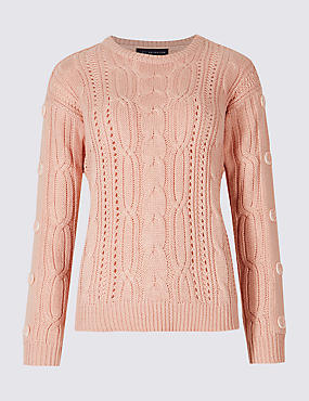 PETITE Cotton Blend Textured Jumper