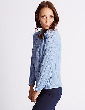 Cotton Blend Cable Knit Button Sleeve Jumper