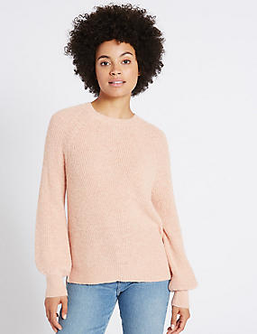 Ribbed Bubble Sleeve Round Neck Jumper