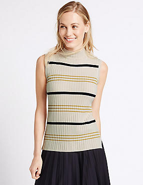 Striped Funnel Neck Sleeveless Jumper