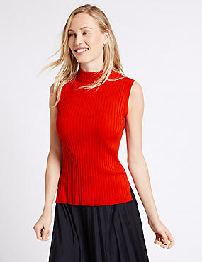 Ribbed Funnel Neck Sleeveless Jumper, LACQUER RED, catlanding