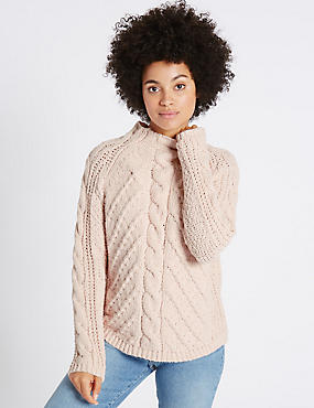 Chenille Cable Funnel Neck Jumper