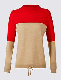 Pure Wool Colour Block Jumper
