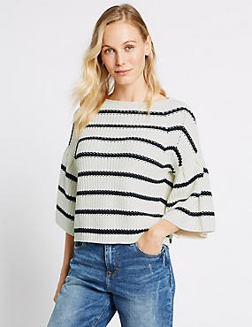 Cotton Rich Striped Flared Sleeve Jumper