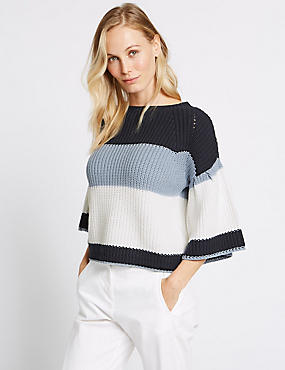 Colour Block Flared Sleeve Jumper