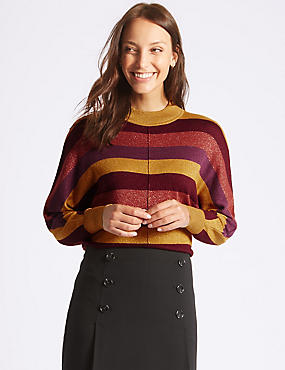 Striped Funnel Neck Jumper