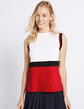 Colour Block Round Neck Sleeveless Jumper