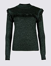 Sparkly Ruffle Yoke Funnel Neck Jumper