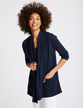 Pure Merino Wool Textured Cardigan, NAVY, catlanding