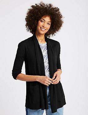 Pure Merino Wool Textured Cardigan, BLACK, catlanding
