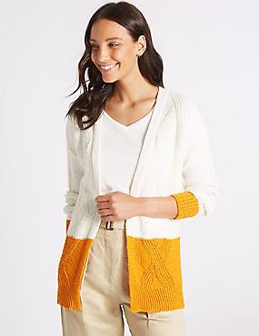 Cotton Rich Colour Block Longline Cardigan , CREAM MIX, catlanding