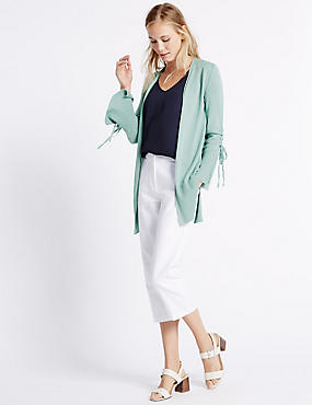 Ribbed Hem Open Front Cardigan