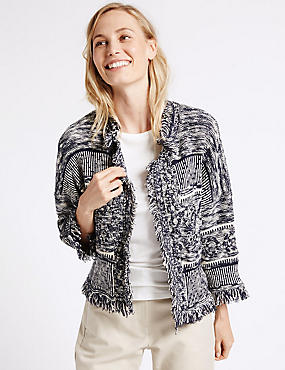 Cotton Rich Trophy Fringe Cardigan