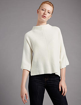 3/4 Sleeve Funnel Neck Jumper with Wool