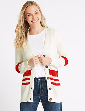 Cotton Blend Striped Longline Cardigan  , WHITE MIX, catlanding