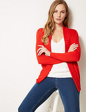 Textured Long Sleeve Cardigan, CHILLI, catlanding