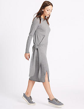 Pure Wool Tie Side Jumper Dress