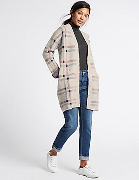 Checked Longline Cardigan