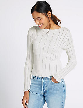 Pure Cotton Vertical Pointelle Jumper