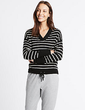 Pure Wool Drawstring Striped V-Neck Jumper