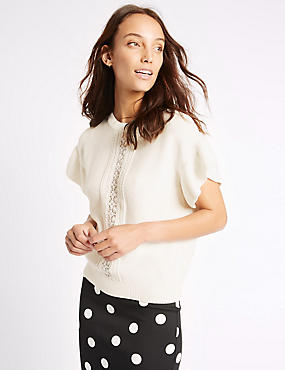 Pure Cotton Lace Trim Flared Sleeve Jumper