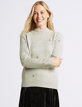 Cotton Rich Embellished Turtle Neck Jumper